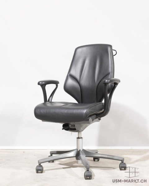 G64 Bürodrehstuhl schwarz Leder