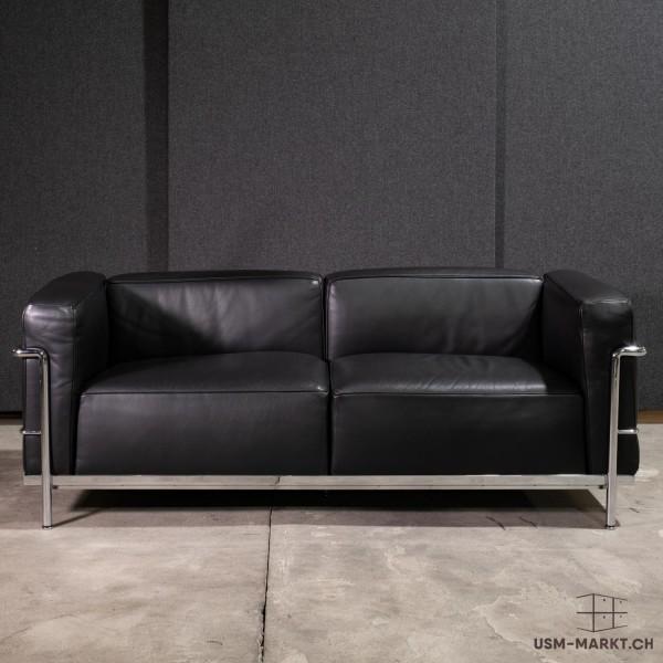 Le Corbusier LC3 2-Sitzer Sofa Leder Schwarz